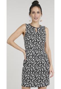 f9def35731a0 ... Vestido Feminino Curto Acinturado Estampado Geométrico Com Corrente Sem  Manga Decote Redondo Off White