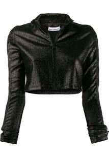Paco Rabanne Cropped Glitter Zip-Up Jumper - Preto