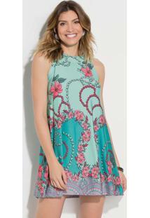 Vestido Curto Decote Trapézio Floral Turquesa