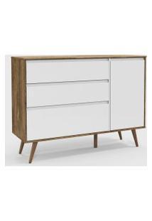 Cômoda Retrô Clean Com Porta Branco Soft / Teka / Eco Wood
