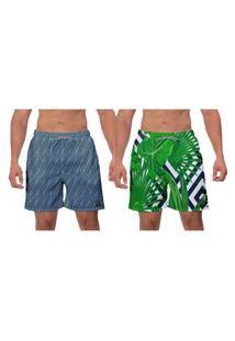 Kit 2 Shorts Moda Praia Samambaia Estampada Verde E Azul Petróleo Masculino Banho Surf Vôlei Poliéster Elastano W2