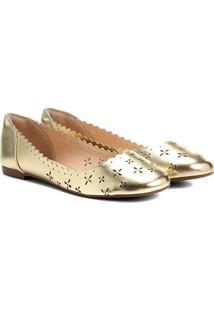 Sapatilha Shoestock Laser Floral Bico Redondo Feminina - Feminino-Dourado