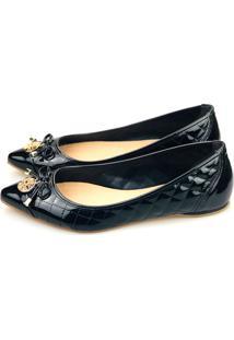 Sapatilha Love Shoes Bico Fino Laçinho Matelasse Verniz Preto