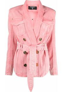 Balmain Jaqueta Jeans Com Abotoamento Duplo E Cinto - Rosa