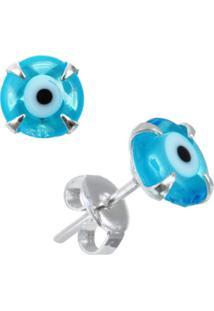 Brinco Joia Em Casa Prata Olho Grego Azul Claro Prata