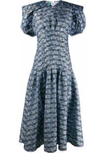 Chopova Lowena Vestido Midi Com Mangas Bufantes Xadrez - Azul