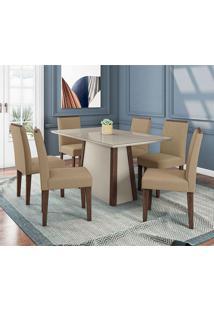 Conjunto De Mesa De Jantar Julia Com 6 Cadeiras Estofada Amanda Veludo Branco E Areia