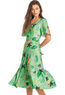Vestido Verde Mídi Tropical