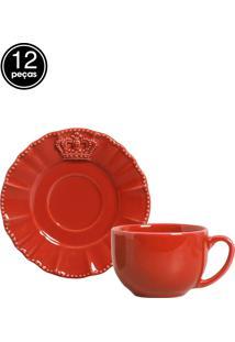 Jogo De Xícaras De Chá 12 Pçs Windsor Vermelho Porto Brasil