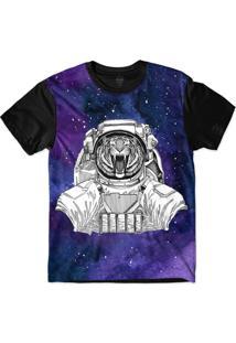 Camiseta Insane 10 Animal Astronauta Tigre Bravo No Espaço Sublimada Azul