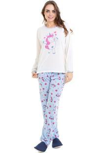 Pijama Conforto Manga Longa Unicórnio Feminino Luna Cuore