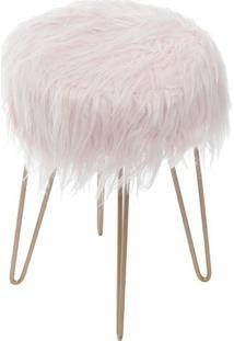 Puff Glamour- Rosa & Dourado- 45Xø28Cm- Or Desigor Design