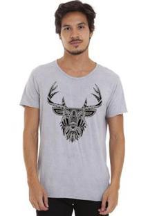 Camiseta Joss Estonada Corte À Fio Masculina - Masculino-Cinza