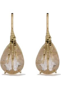 Wouters & Hendrix Gold 18Kt Claw Rutilated Quartz Earrings - Yellow Gold