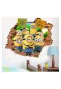 Adesivo De Parede Buraco Falso 3D Infantil Minions - G 82X100Cm