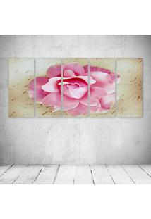 Quadro Decorativo - Pink Rose Vintage - Composto De 5 Quadros