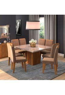 Conjunto De Mesa De Jantar Ana Com 8 Cadeiras Taís Suede Off White E Savana
