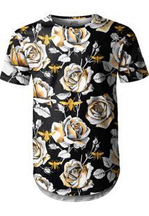 Camiseta Longline Over Fame Flor Preta