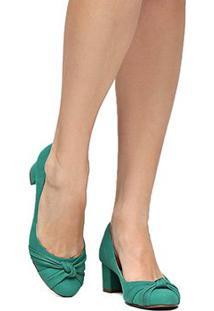 Scarpin Couro Shoestock Salto Baixo Grosso Nó - Feminino-Verde