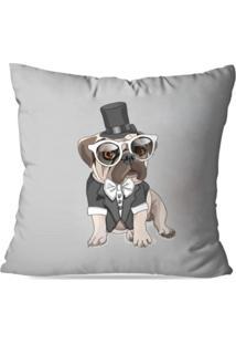 Capa De Almofada Decorativa Bulldog Cinza 35X35Cm