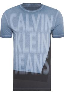 Camiseta Masculina Logo Frente - Azul