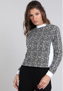 Blusão Feminino Em Moletom Estampado Animal Print Off White