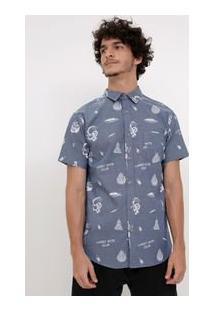 Camisa Estampada Com Bolso Em Tricoline