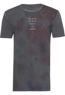 Camiseta Masculina Estampa Manchas - Cinza