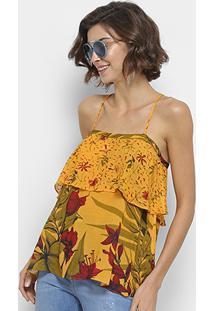 Blusa Forum Bata De Alcinha Floral - Feminino-Amarelo+Verde