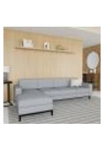 Sofá 4 Lugares Life Com Chaise Esquerdo Pés E Base Em Madeira Linho Cotton Cinza