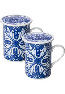 Conjunto Com 02 Canecas Com Tampa Azulejo - Schmidt - Branco / Azul