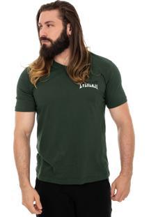 Camiseta Everlast Decote V Logo Bicolor Pequeno Verde Militar
