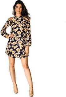 Vestido Estampado Handbook - Feminino-Marinho+Amarelo