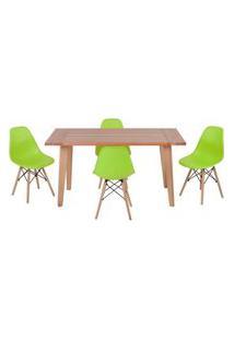 Conjunto Mesa De Jantar Em Madeira 150X80 Vértice + 4 Cadeiras Eiffel - Verde