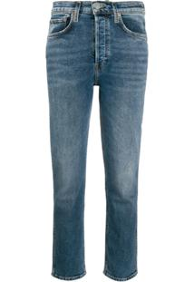 Re/Done Calça Jeans Slim Cintura Média - Azul