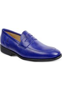 Sapato Em Couro Veneza 220220 - Masculino-Azul