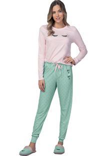 Pijama Comfort Wake Up And Make Up - Lua Luá - Rosa E Verde