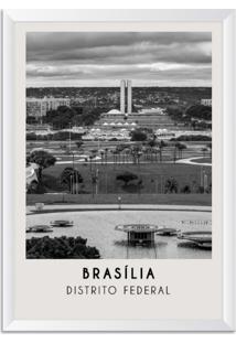 Quadro Oppen House 65X45Cm Cidades Brasília Brasil Moldura Branca Com Vidro - Oppen House Decora