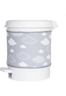 Lixeira Nuvem Chevron Cinza Quarto Bebê Infantil - Kanui