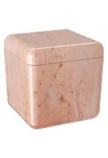 Porta Algodão/Cotonetes Cube Coza 8,5 X 8,5 X 8,5 Cm Mármore Rosa Coza Mármore Rosa Coza
