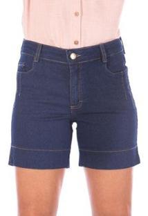 Bermuda Sisal Jeans Meia Coxa Feminina - Feminino-Azul