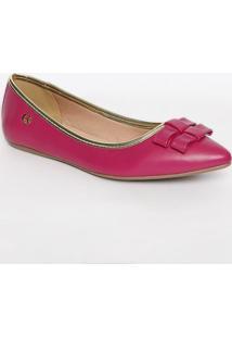 Sapatilha Em Couro Com Laços- Pink & Douradacarmen Steffens