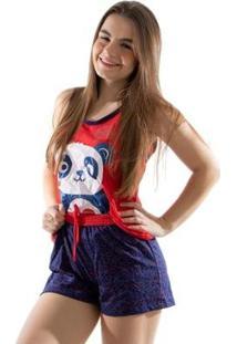 Baby Doll 4 Estações Panda Pijama Curto Feminino - Feminino-Vermelho