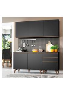 Armário De Cozinha Compacta Madesa Reims Com Balcão 5 Portas 3 Gavetas Preto Preto