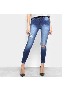 aa05c9167 ... Calça Jeans Skinny Biotipo Estonada Cintura Média Feminina - Feminino- Azul