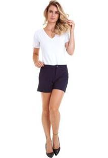 Shorts Crepe Kinara Com Bolso Feminina - Feminino-Marinho