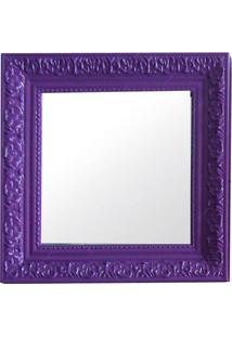 Espelho Charm Quadrado Roxo Em Mdf - Urban - 30X30 Cm