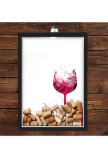 Quadro Caixa Porta Rolha De Vinho 33X43 Cm (Com Led) Lojaria E Nerderia. Taã§A Vinho Preto - Preto - Dafiti