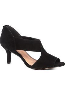 Sandália Shoestock Salto Fino Nobuck Recortes Feminina - Feminino-Preto