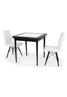 Conjunto Mesa De Jantar Em Madeira Preto Prime Com Azulejo + 2 Cadeiras Gomos - Branco